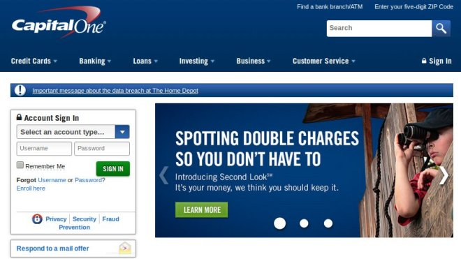 Capital One website with Firefox