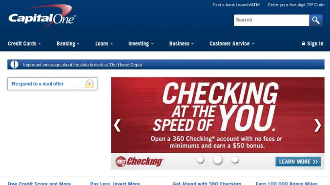Capital One website with Iceweasel