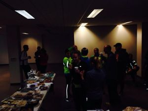The post-race cookie run in 2013: let's get warm and stay together indoor!