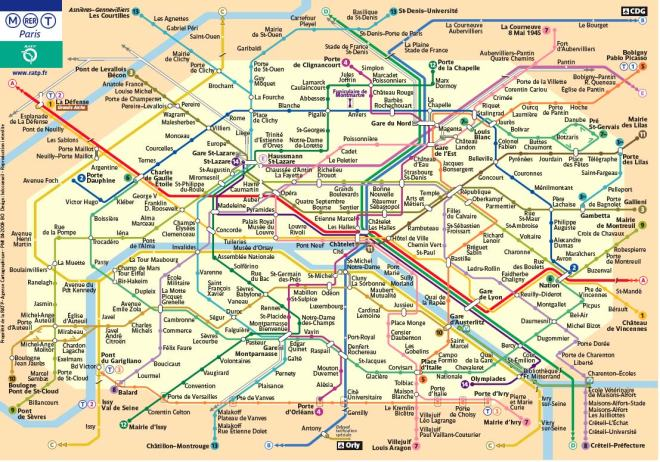 Map of the subway stations in Paris